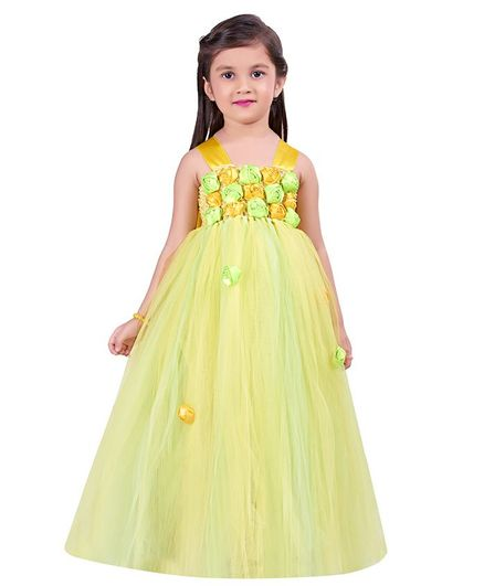 Pink Chick Sleeveless Flower Work Flared Gown - Yellow