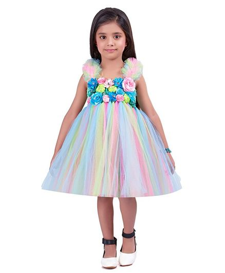 Pink Chick Sleeveless Ruffled Flower Detailed Dress - Multi Color