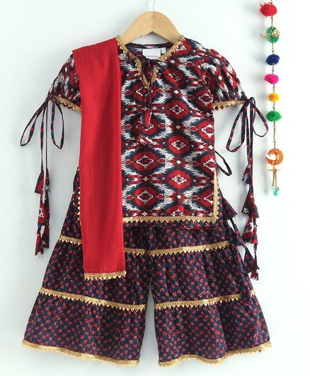 Kidcetra Short Sleeves Ikat Pattern Kurti With Layered Sharara & Dupatta - Red
