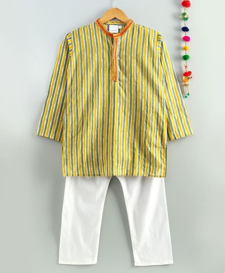 Kidcetra Full Sleeves Striped Kurta With Pajama - Yellow