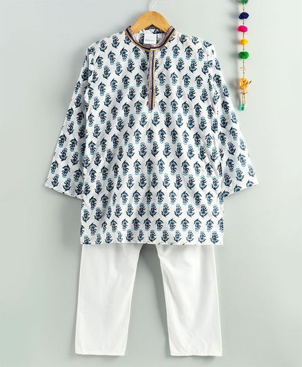 Kidcetra Full Sleeves Flower Print Kurta With Pajama - White