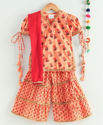Kidcetra Short Sleeves Flower Print Kurti With Sharara & Dupatta - Peach
