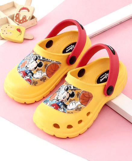 Cute Walk by Babyhug Clogs Mickey Mouse Print  - Yellow
