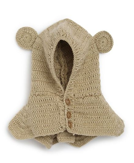 MayRa Knits Hand Knitted Ears Applique Crochet Cap - Brown