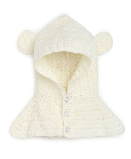 MayRa Knits Hand Knitted Ears Applique Crochet Cap - Off White