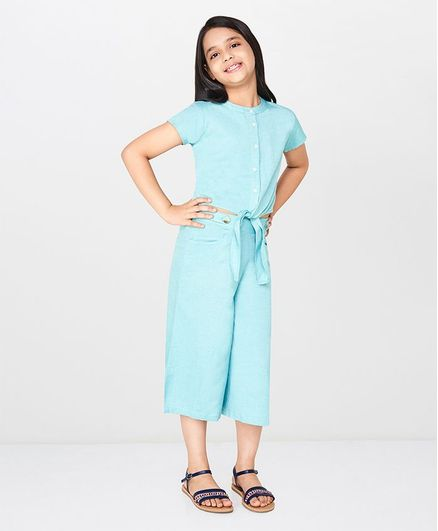 Global Desi Girl Half Sleeves Button Down Front Knot Top - Mint