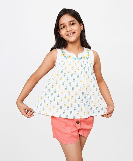 Global Desi Girl Sleeveless Floral Print Top - White