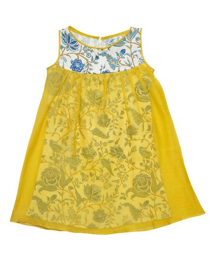 Mish Organic Sleeveless Flower Printed Dress - Yellow