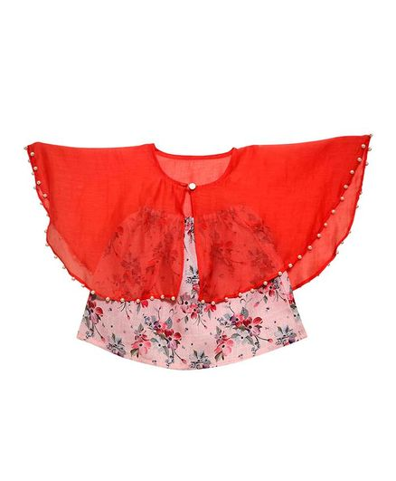 Mish Organic Sleeveless Floral Print Tube Top With Cape - Red & Pink