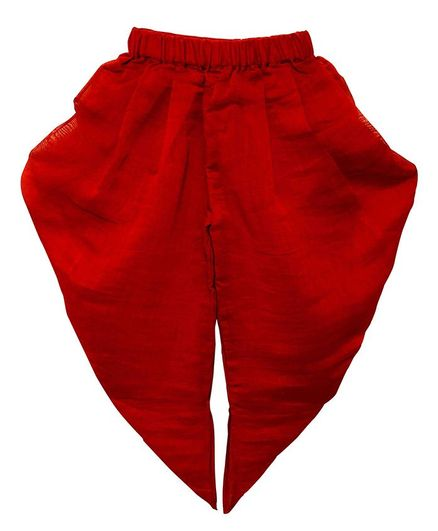 Mish Organic Solid Colour Dhoti - Red
