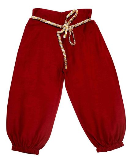 Mish Organic Solid Colour Full Length Harem Pants - Maroon