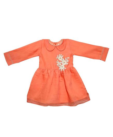 Mish Organic Full Sleeves Flower Embroidery Detailing Dress - Peach