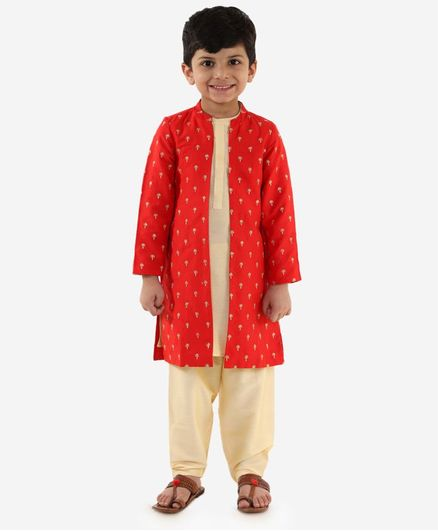 Lil Peacock Embroidered Full Sleeves Jacket With Kurta & Pajama Set - Red