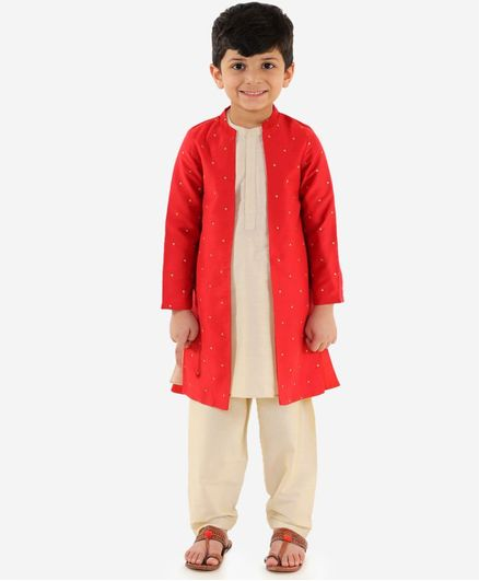 Lil Peacock Embroidered Full Sleeves Sherwani With Jacket & Pajama - Red