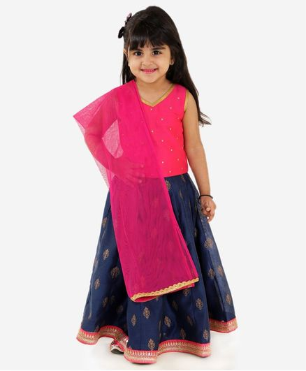 Lil Peacock Sleeveless Choli With Printed Lehenga & Dupatta Set - Navy