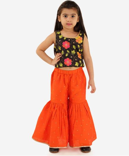 Lil Peacock Flower Print Sleeveless Top With Palazzo Set - Orange