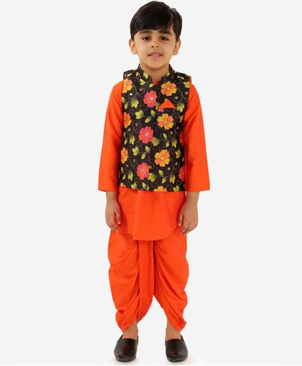Lil Peacock Full Sleeves Kurta With Flower Print Jacket & Pajama Set - Orange