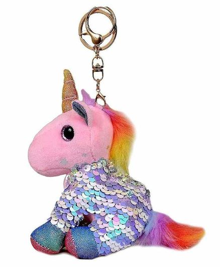 FunBlast Sequin Unicorn Plush Keychain - Pink