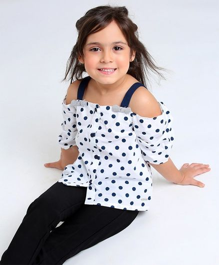 Babyoye Sleeveless Top Polka Dot Print - White Black
