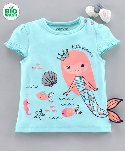Babyoye Cap Sleeves Tee Mermaid Print - Blue