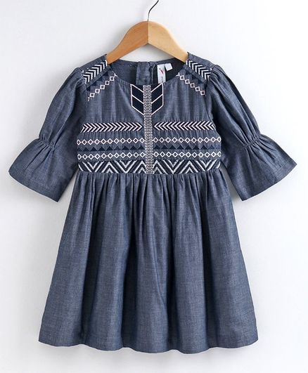 Little Carrot Three Fourth Sleeves Embroidery Detailing Dress - Blue