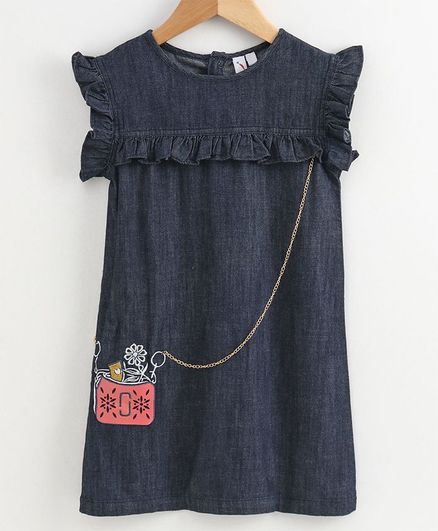Little Carrot Cap Sleeves Sling Bag Print Detailing Dress - Blue
