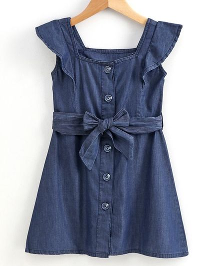 Little Carrot Cap Sleeves Solid Colour Dress - Dark Blue