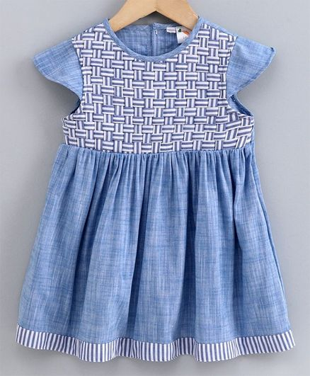 Little Carrot Cap Sleeves Braided Yoke Detailing Dress - Light Blue