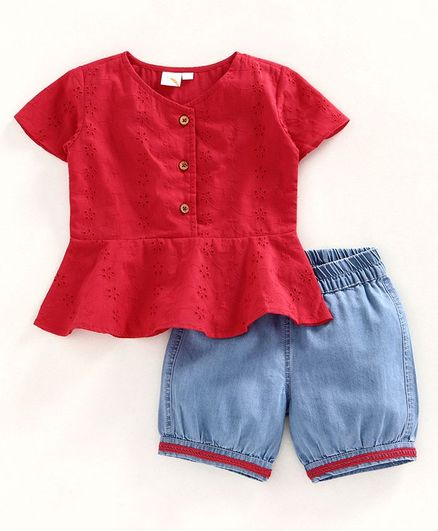 Little Carrot Cap Sleeves Schiffili Top Denim Shorts Set - Red & Blue