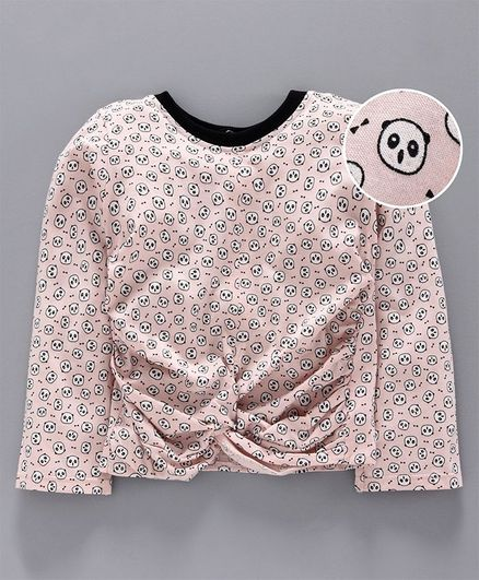 Little Carrot Full Sleeves All Over Panda Printed Top - Light Pink