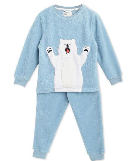 Cherry Crumble By Nitt Hyman Full Sleeves Polar Bear Patch Detailing Night Suit With Sleeping Mask - Sky Blue