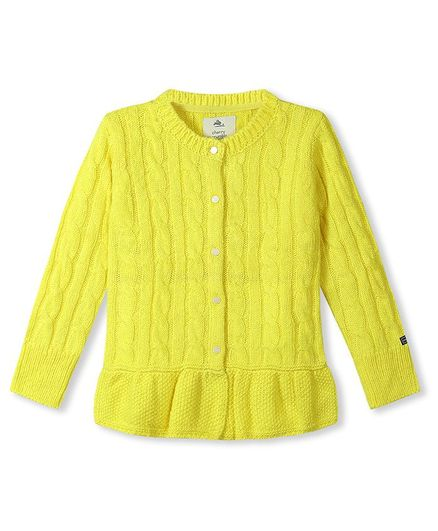 Cherry Crumble By Nitt Hyman Full Sleeves Cable Knit Peplum Cardigan - Yellow
