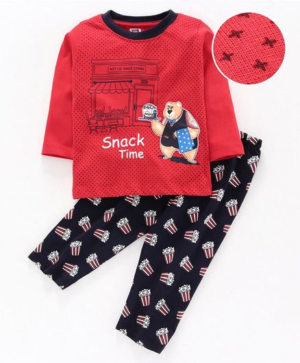 Nottie Planet Full Sleeves Teddy Bear Print Tee With Popcorn Print Pajama - Red