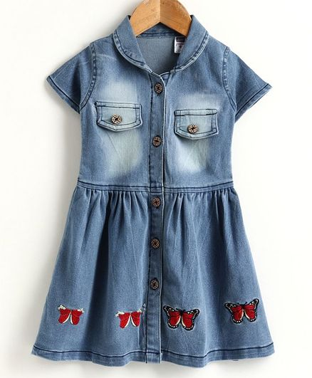 Nottie Planet Short Sleeves Collared Front Pocket Detailed Butterfly Patch Dress - Blue