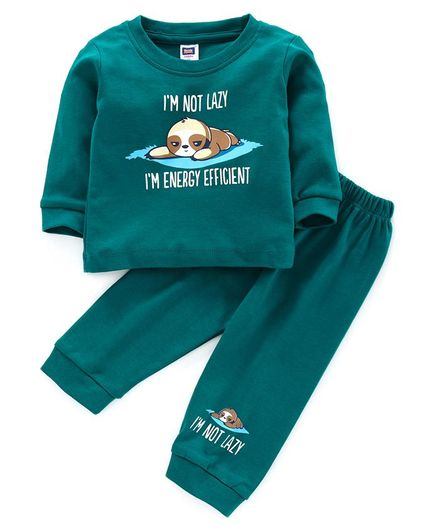 Nottie Planet Full Sleeves I'm Lazy Print Tee With Pajama - Green
