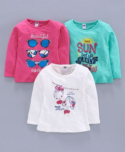 Nottie Planet Full Sleeves Doll & Sunglasses Print Pack Of 3 Tee - Pink White Green
