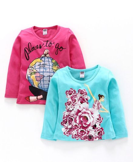 Nottie Planet Full Sleeves Pack Of Two Doll & Places To Go Print Tee - Pink Blue