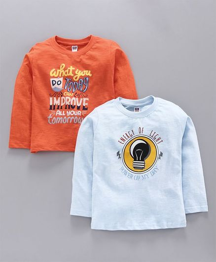 Nottie Planet Full Sleeves Pack Of Two Quote Print Tee - Orange Blue