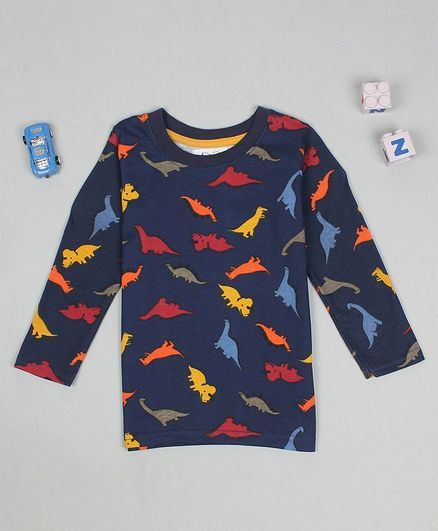 Flenza Full Sleeves Dinosaur Print T-Shirt - Navy Blue