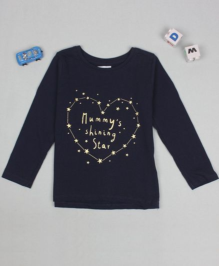 Flenza Full Sleeves Text & Heart Printe T-Shirt - Navy Blue