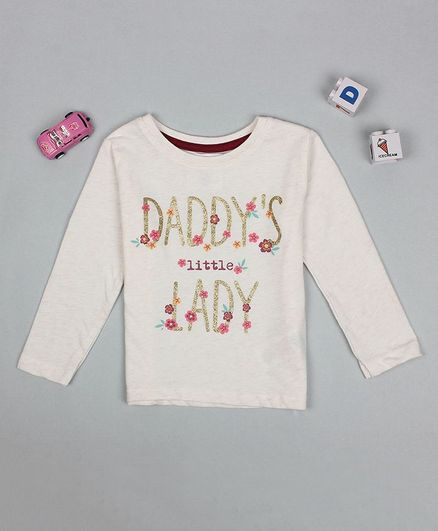 Flenza Full Sleeves Daddy's Little Lady Printed Top - White