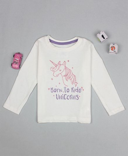 Flenza Full Sleeves Unicorn Printed Top - White
