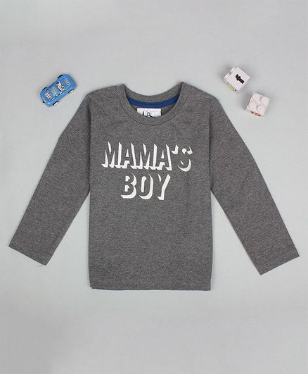 Flenza Full Sleeves Mama's Boy Printed T-Shirt - Grey