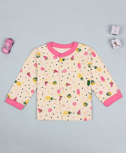 Flenza Full Sleeves Fruit Print T-Shirt - Cream
