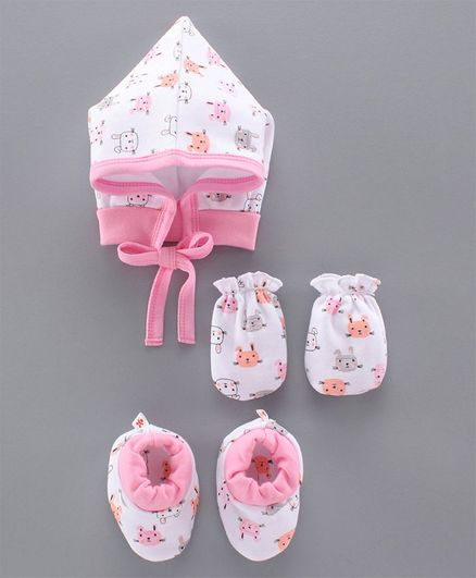 Child World Cap & Mittens With Booties Animal Print Pink White - Diameter
