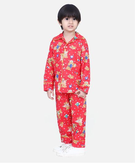 BownBee Full Sleeves Teddy Print Night Suit - Red