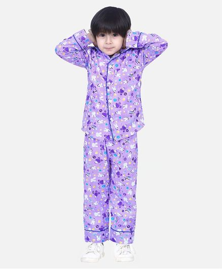 BownBee Full Sleeves Bunny Printed Night Suit - Purple