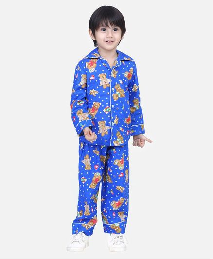 BownBee Full Sleeves Teddy Printed Night Suit - Blue