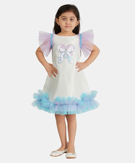 PinkCow Half Sleeves Butterfly Patch Flared Dress - White