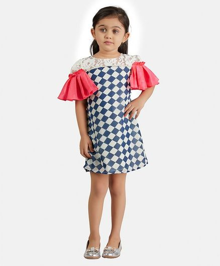 PinkCow Half Sleeves Checked & Pearl Embellished Dress - Navy Blue